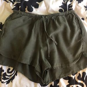 green flowy shorts